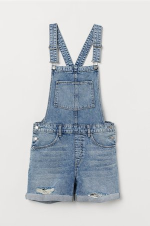 Denim Bib Overall Shorts - Denim blue - Ladies | H&M US