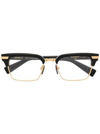 Shop Balmain Eyewear Legion II rectangle-frame glasses with Express Delivery - FARFETCH