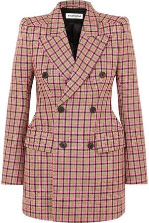 Balenciaga | Hourglass checked wool blazer | NET-A-PORTER.COM