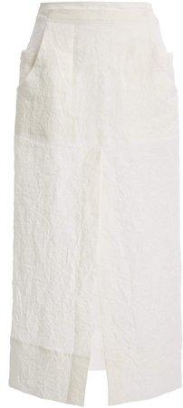 Jacquemus Cavaou Tie-Detailed Linen Midi Skirt