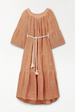 Net Sustain Oversized Belted Tiered Linen-blend Gauze Maxi Dress - Orange