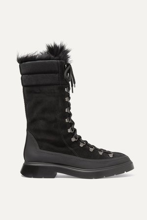 Jessie Shearling And Rubber-trimmed Suede Boots - Black