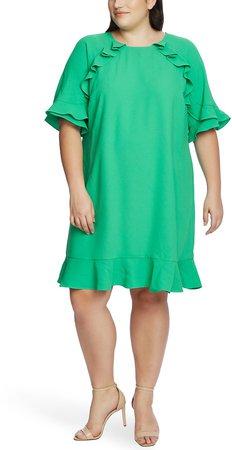 Ruffled Crepe Shift Dress