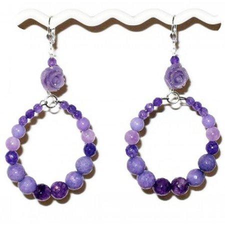 Purple Flower Hoop Earrings from AngieShel Designs