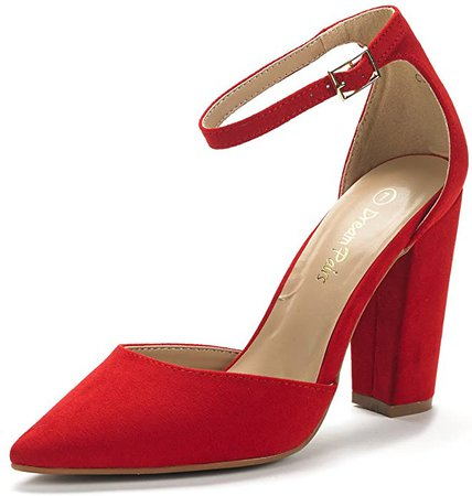Amazon.com   DREAM PAIRS Women's Coco Red Suede Mid Heel Pump Shoes - 11 M US   Pumps