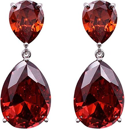 Red Drop Pierced Earrings