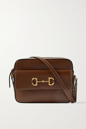 Brown 1955 small horsebit-detailed textured-leather shoulder bag   Gucci   NET-A-PORTER