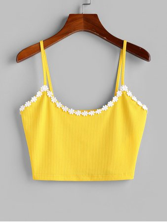 [40% OFF] 2020 ZAFUL Flower Applique Ribbed Crop Cami Top In YELLOW | ZAFUL