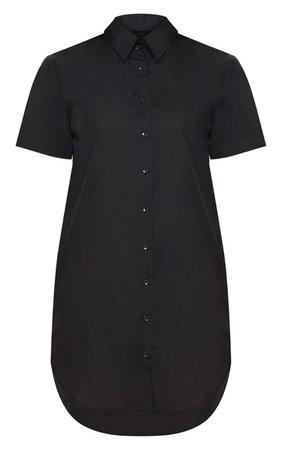 Black Short Sleeve Shirt Dress | Dresses | PrettyLittleThing