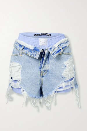 Bite Layered Distressed Denim And Cotton-pique Shorts - Light denim