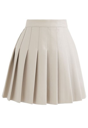 Pleated Faux Leather Mini Skirt in Cream - Retro, Indie and Unique Fashion