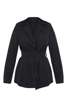 Black Woven Belted Longline Blazer | PrettyLittleThing