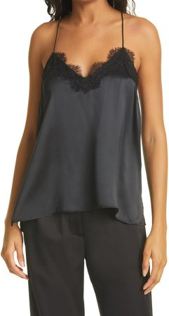 The Racer Lace Trim Silk Camisole