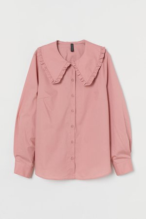 Wide-collared Shirt - Pink