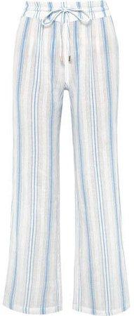 Krissy Striped Cotton-gauze Pants - Blue