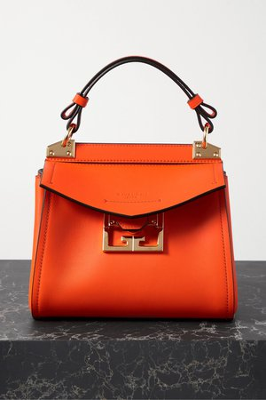 Orange Mystic mini textured-leather tote | Givenchy | NET-A-PORTER