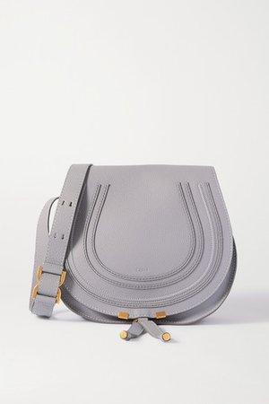 Marcie Medium Textured-leather Shoulder Bag - Light gray
