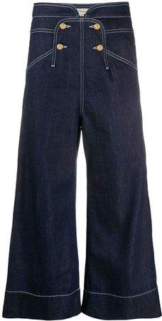 Fontana high-rise wide-leg cropped jeans