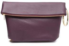 Ruby Pebbled-leather Clutch