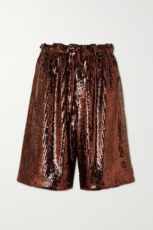 Sequined Crepe Shorts - Brown