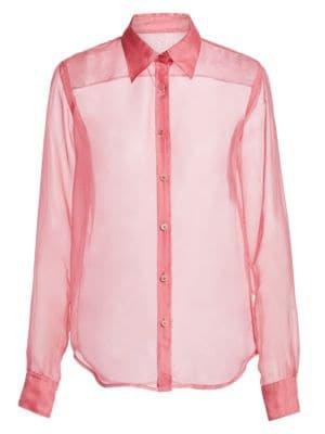Helmut lang silk organza shirt in pink