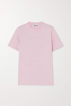 Band Tee Embroidered Cotton-jersey T-shirt - Pink