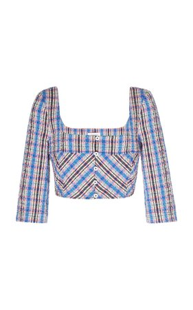 Rosie Assoulin Cropped Plaid Cotton-Blend Top