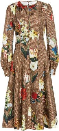Oscar de la Renta Floral-Print Silk Midi Dress