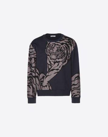CREW-NECK COTTON SWEATSHRT WITH TIGER PRINT for Man   Valentino Online Boutique