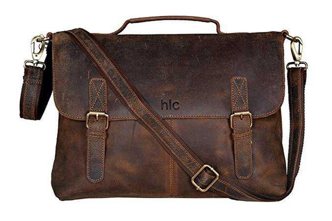 Amazon.com: Handolederco Vintage Buffalo Leather Messenger Satchel Laptop Briefcase Men's Bag Crazy Vintage Leather Messenger Briefcase Bag: Computers & Accessories