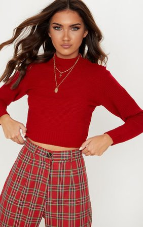 Red Ribbed Cropped Knitted Sweater. Knitwear   PrettyLittleThing USA