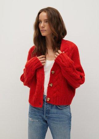 Cable-knit cardigan - Women   Mango United Kingdom