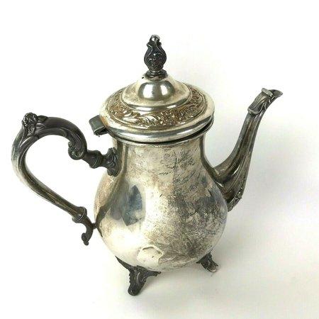 Vtg Wm Rogers Silverplate Coffee Tea Pot Eagle Star Floral Footed Shabby | eBay