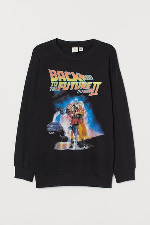 Oversized Printed Sweatshirt - Black