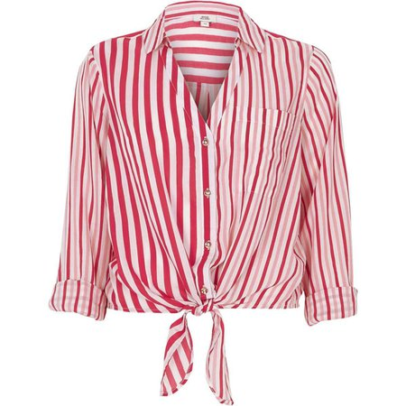 Red stripe tie front cropped shirt - Tops - Sale - women