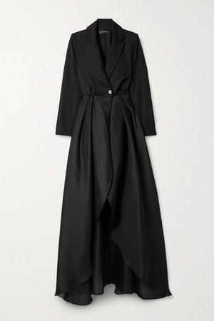Pleated Wool-twill And Silk-organza Coat - Black