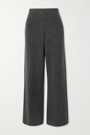 Knitted Wide-leg Pants - Dark gray