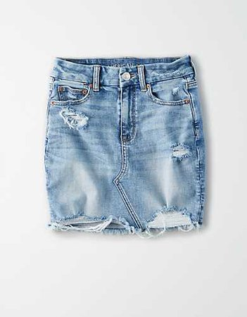Curvy High-Waisted Denim Mini Skirt blue