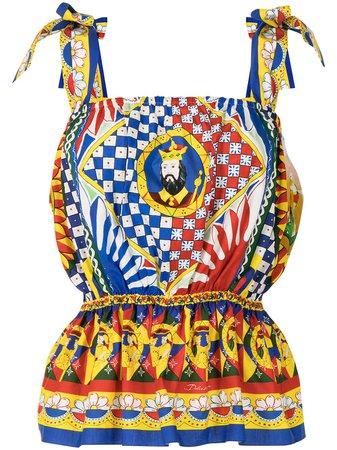 Dolce & Gabbana Carretto Print Peplum Blouse - Farfetch