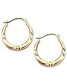 Macy's 10k Gold Hoop Earrings, Small Bamboo Jewelry & Watches - Earrings - Macy's