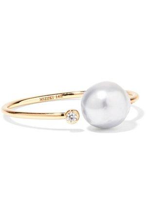 Mizuki | 14-karat gold, diamond and pearl ring | NET-A-PORTER.COM