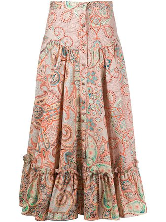 Shop ETRO floral print tiered midi skirt with Express Delivery - FARFETCH