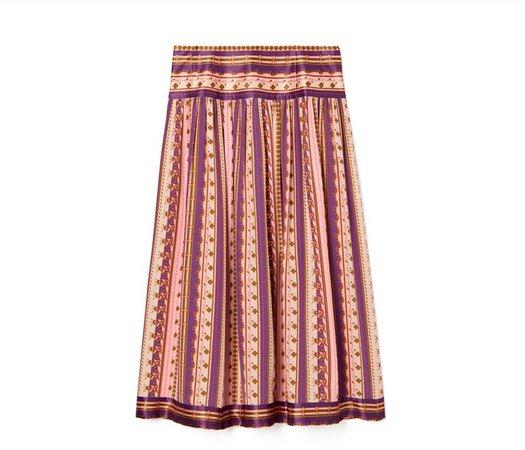 Silk Burnout Pleated Skirt