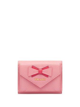 Prada Saffiano Leather Wallet With Bow - Farfetch