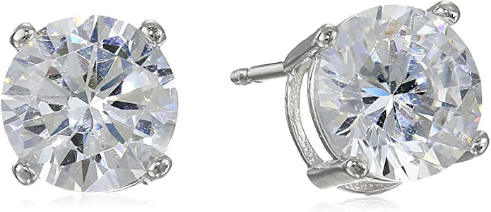 Amazon Essentials Platinum Plated Sterling Silver Round Cut Cubic Zirconia Stud Earrings (5mm): Jewelry