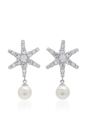 Exclusive Silver-Tone, Crystal And Pearl Earrings by Jennifer Behr | Moda Operandi