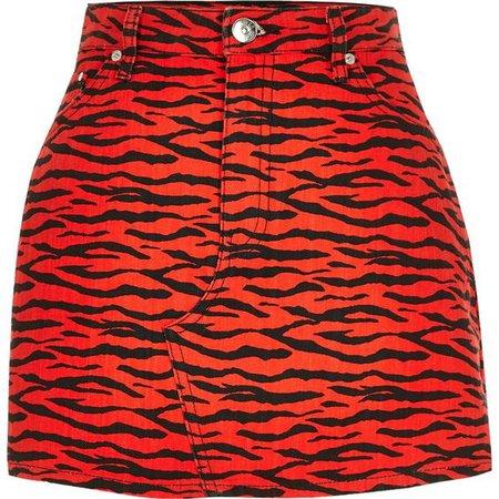 Red zebra print denim mini skirt