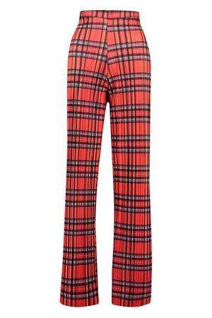 Tartan Check Plisse Wide Leg Trouser | Boohoo UK