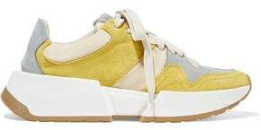 Color-block Nubuck, Suede And Stretch-knit Sneakers