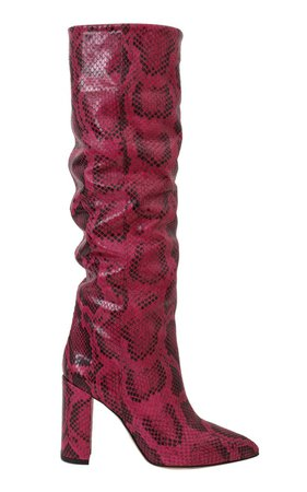 Slouchy Python-Effect Leather Knee Boots by Paris Texas | Moda Operandi